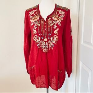 Cranberry Red Embroidered Johnny Was Tunic